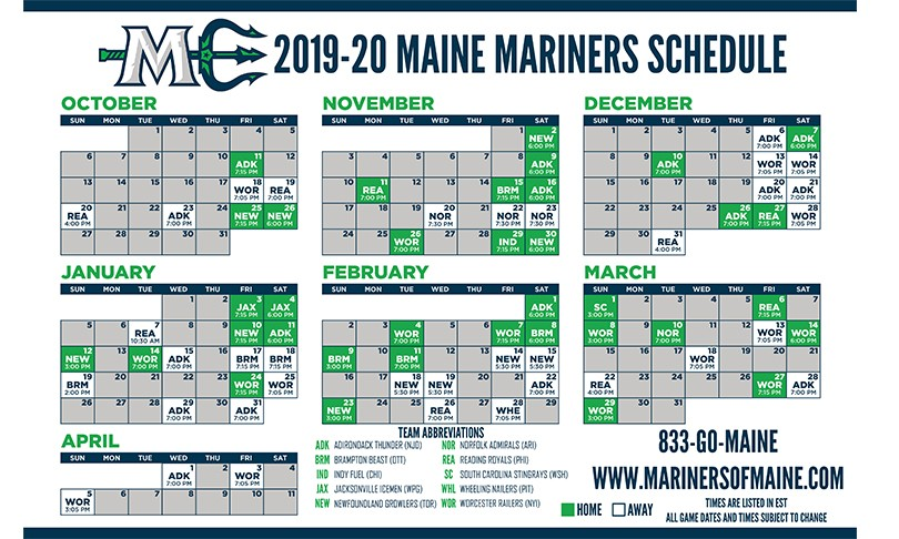 Mariners 2020 Schedule Maine Mariners 2019 20 Schedule | The Cross Insurance Center